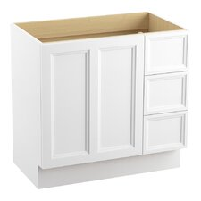 """Damask 36"""" Vanity Base with Toe Kick, 1 Door and 3 Drawers on Right"""