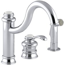 "Fairfax Three-Hole Remote Valve Kitchen Sink Faucet with 9-3/8"" Spout and Matching Finish Sidespray"