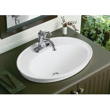 Serif Drop-In Bathroom Sink with Single Faucet Hole