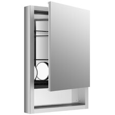 """Verdera 20"""" W x 30"""" H Aluminum Medicine Cabinet with Adjustable Magnifying Mirror, Slow-Close Door, Open Shelf and Right-Hand Hinge"""