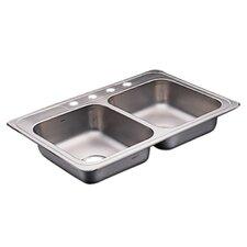 "Commercial 33"" x 22"" 20 Gauge Double Bowl Kitchen Sink"