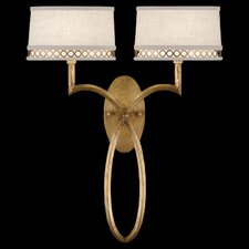 Allegretto Gold Two Light Wall Sconce