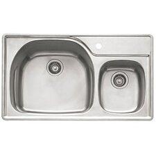"Prestige 33"" Stainless Steel Double Bowl Kitchen Sink"