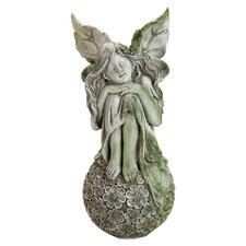 Sitting on Flower Ball Fairy Statue
