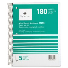 """Notebooks, Wirebound, 5 Subject, 10-1/2""""x8"""", College Ruled, 180SH"""