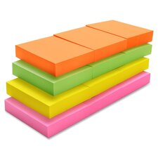 "Adhesive Note Pads, Plain, 1-1/2""x2"", 12 Pack: Orange, Green, Yellow, Pink"