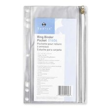 """Ring Binder Pocket, w/ Zipper, Vinyl, Hole Punched, 10""""x8"""", CL"""