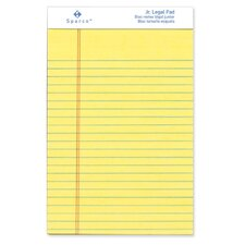 "Pad, Micro-Perforated, Jr. Legal Ruled, 5""x8"", Canary/White, 50 Sheets, 12-Pack"