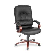 High-Back Leather Lorell Woodbridge Series Executive Chair