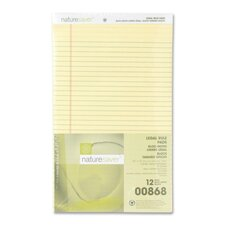"Recycled Pad, Legal Ruled, 8-1/2""x14"", 50 Sheets, Canary"