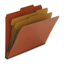 Classification Folders, Letter, 2 Partitions, 10/BX, Red