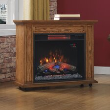 Rolling Mantel with Electric Infrared Quartz Fireplace