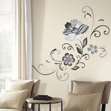 22 Piece Deco Flower Scroll Peel and Stick Giant Wall Decal Set