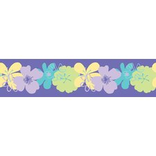 "Snap Kids Poppin Poppies Self Stick 15' x 5"" Floral and Botanical Border Wallpaper"