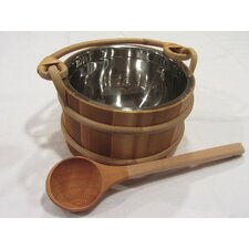Wooden Pail and Ladle Set with Stainless Liner