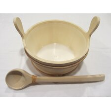 Wooden Pail and Ladle Set with Plastic Liner