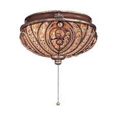 Two Light Crystal Cut Detail Universal Ceiling Fan Light Kit