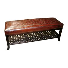 Colonial Hand Tooled Leather Entryway Bench