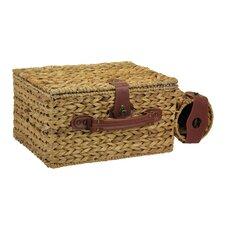 Banana Leaf Picnic Basket with Wine Caddy