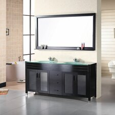 "Waterfall 71"" Double Bathroom Vanity Set with Mirror"