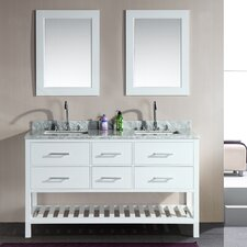 "London 61"" Double Bathroom Vanity Set with Mirror"