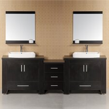 "Washington 96"" Double Modern Bathroom Vanity Set with Mirror"