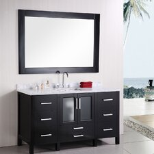 "Stanton 60"" Single Modern Bathroom Vanity Set with Mirror"