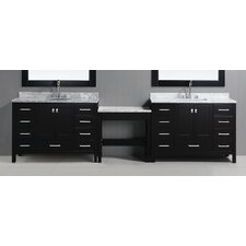 "London 126"" Double Bathroom Vanity Set with Mirror"