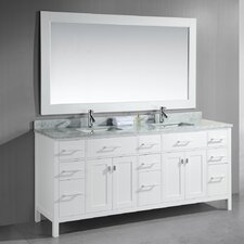 "London 78"" Double Bathroom Vanity Set with Mirror"