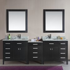 "London 92"" Double Bathroom Vanity Set with Mirror"