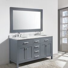 "London 61"" Double Sink Vanity Set with Mirror"