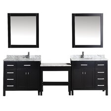 "London 102"" Double Bathroom Vanity Set with Mirror"
