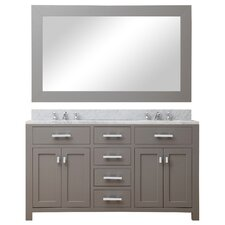 "Madison 60"" Double Sink Bathroom Vanity Set with Mirror"