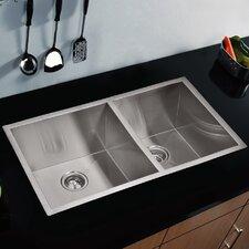 "Water Creation SS-U-3320A 33"" X 20"" Zero Radius 60/40 Double Bowl Stainless Steel Hand Made Undermount Kitchen Sink"