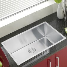 """Water Creation SS-U-3018B 30"""" X 18"""" Single Bowl Stainless Steel Hand Made Undermount Kitchen Sink With Coved Corners"""