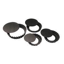 """4"""" Fluted N-Stick Tart Pan (Set of 4)"""