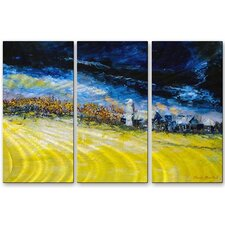 'Thunder Sky' by Claude Marshall 3 Piece Painting Print Plaque Set