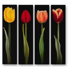 'Tulips' by Ora Sorenson 4 Piece Painting Print Plaque Set