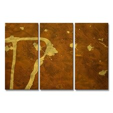 'Brown and Golds' by Allyson Kitts 3 Piece Painting Print Plaque Set