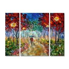 'Night Walk in the Park' by Karen Tarlton 3 Piece Painting Print Plaque Set