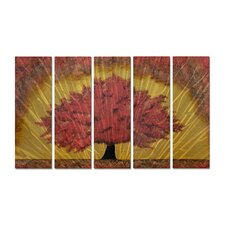 'Autumns Gift' by Brittney Hallowell 5 Piece Graphic Art Plaque Set