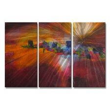 'Lost City' by Judy Jacobs 3 Piece Painting Print Plaque Set