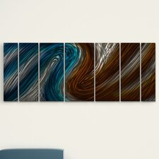 'Warm and Cool Currents' by Ash Carl 7 Piece Original Painting on Metal Plaque Set