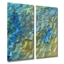 'Water Swept' by Kelli Money Huff 2 Piece Graphic Art Plaque Set