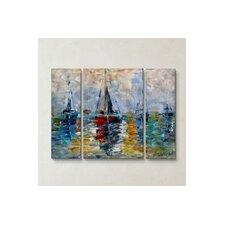 'Harbor Boats' by Karen Tarlton 3 Piece Painting Print Plaque Set
