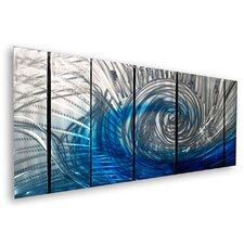 'Wave' by Ash Carl 7 Piece Original Painting on Metal Plaque Set
