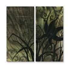 'Natures Whimsy VI' by Megan Duncanson 2 Piece Original Painting on Metal Plaque Set (Set of 2)
