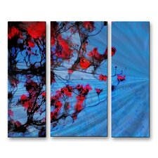 'The Red Dogwood' by Gina Signore 3 Piece Original Painting on Metal Plaque Set