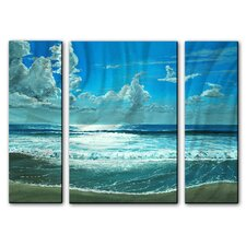 'Surfside Sparkle' by Keith Wilke 3 Piece Painting on Metal Plaque Set