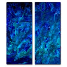 'Under The Sea' by Angelika Mehrens 2 Piece Original Painting on Metal Plaque Set